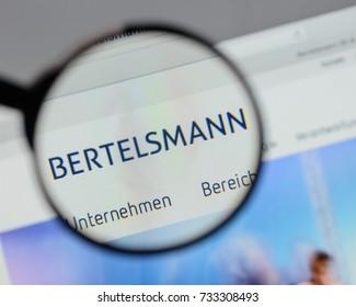 Milan, Italy - August 10, 2017: Bertelsmann logo on the website homepage.