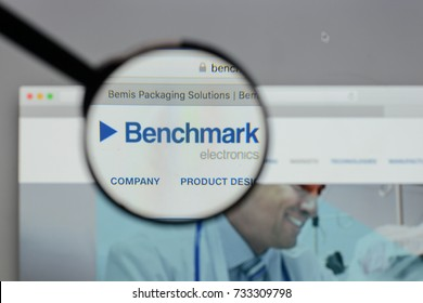 Milan, Italy - August 10, 2017: Benchmark Electronics logo on the website homepage.