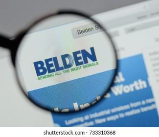 Milan, Italy - August 10, 2017: Belden logo on the website homepage.