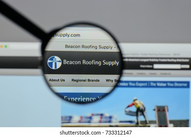Milan, Italy - August 10, 2017: Beacon Roofing Supply logo on the website homepage.