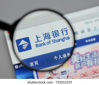 Milan, Italy - August 10, 2017: Bank of Shanghai logo on the website homepage.