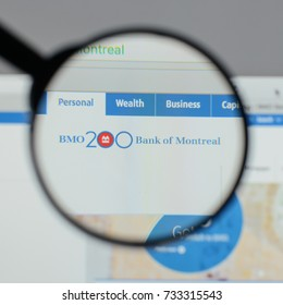 Milan, Italy - August 10, 2017: Bank of Montreal logo on the website homepage.