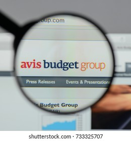 Milan, Italy - August 10, 2017: Avis Budget Group logo on the website homepage.