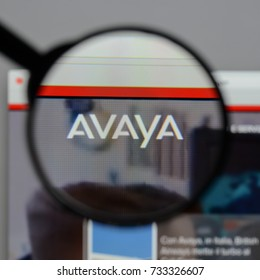 Milan, Italy - August 10, 2017: Avaya logo on the website homepage.