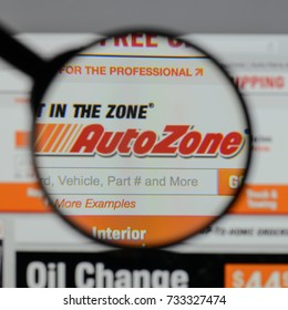 Milan, Italy - August 10, 2017: AutoZone logo on the website homepage.