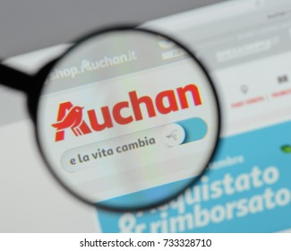 Milan, Italy - August 10, 2017: Auchan logo on the website homepage.