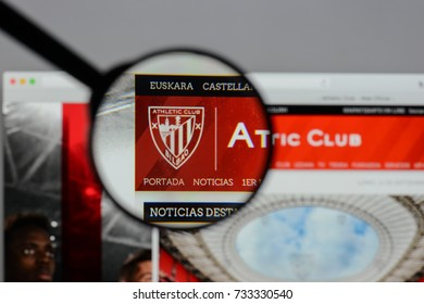 Milan, Italy - August 10, 2017: Athletic Club logo on the website homepage.