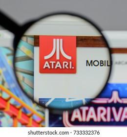 Milan, Italy - August 10, 2017: Atari logo on the website homepage.
