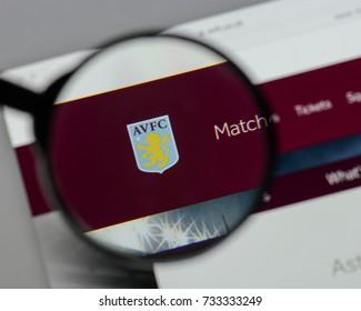 Milan, Italy - August 10, 2017: Aston Villa logo on the website homepage.