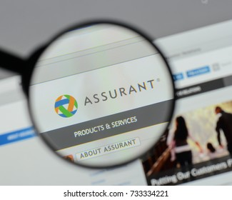 Milan, Italy - August 10, 2017: Assurant logo on the website homepage.