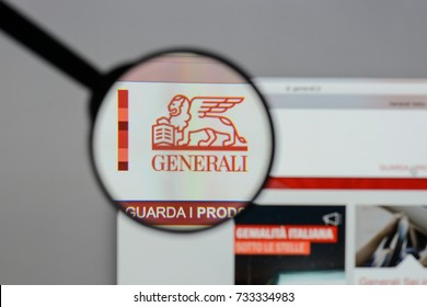Milan, Italy - August 10, 2017: Assicurazioni Generali logo on the website homepage.