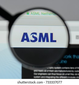 Milan, Italy - August 10, 2017: ASML Holding NV logo on the website homepage.
