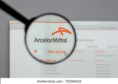 Milan, Italy - August 10, 2017: Arcelor Mittal logo on the website homepage.