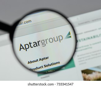 Milan, Italy - August 10, 2017: Aptar Group logo on the website homepage.