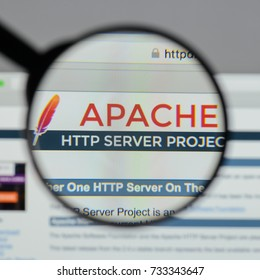 Milan, Italy - August 10, 2017: Apache logo on the website homepage.