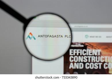 Milan, Italy - August 10, 2017: Antofagasta plc logo on the website homepage.