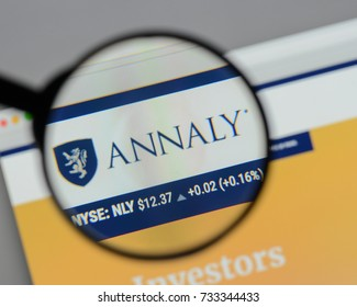 Milan, Italy - August 10, 2017: Annaly Capital Management logo on the website homepage.