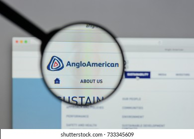 Milan, Italy - August 10, 2017: Anglo American logo on the website homepage.