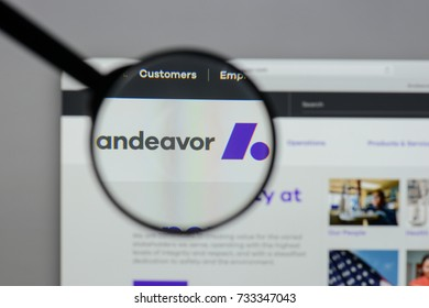 Milan, Italy - August 10, 2017: Andeavor logo on the website homepage.