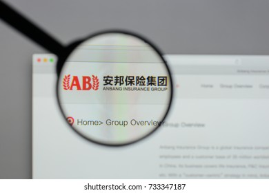 Milan, Italy - August 10, 2017: Anbang Insurance Group logo on the website homepage.