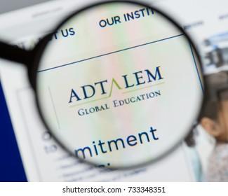 Milan, Italy - August 10, 2017: Adtalem Global Education logo on the website homepage.