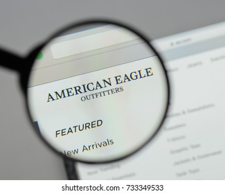 Milan, Italy - August 10, 2017: American Eagle Outfitters website homepage. It is an American clothing and accessories retailer. American Eagle logo visible.