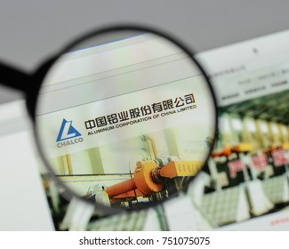 Milan, Italy - August 10, 2017: Aluminum Corp. of China website homepage. Aluminum Corp. of China logo visible.