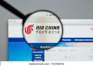 Milan, Italy - August 10, 2017: Air China website homepage. It is the flag carrier and one of the major airlines of the People's Republic of China. Air China logo visible.