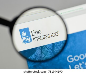 Milan, Italy - August 10, 2017: Erie Insurance Group logo on the website homepage.