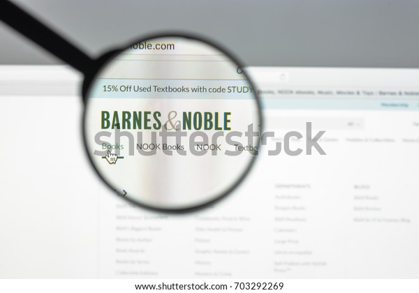 Milan, Italy - August 10, 2017: Barnesandnoble website. It is a Fortune 500 company, the bookseller with the largest number of retail outlets in the United States. Barnes and noble logo visible.