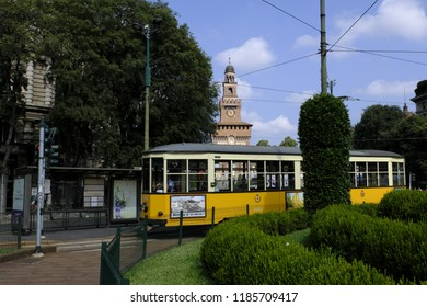 Milan, Italy - August 10, 2018: Famous vintage tram in the centre of the Old Town of Milan, Lombardia, Italy.