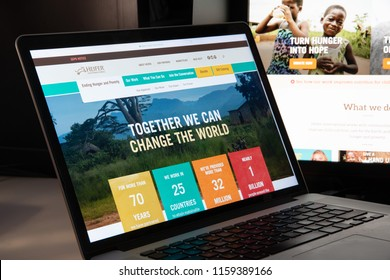 Milan, Italy - August 15, 2018: Heifer International NGO website homepage. Heifer International logo visible.