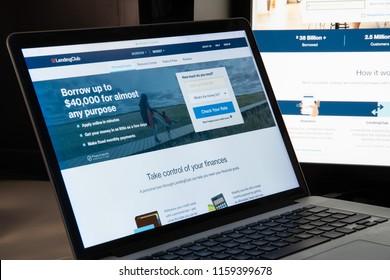 Milan, Italy - August 15, 2018: Lending Club online banking website homepage. Lending Club logo visible.