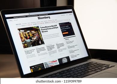 Milan, Italy - August 15, 2018: Bloomberg LP online banking website homepage. Bloomberg LP logo visible.