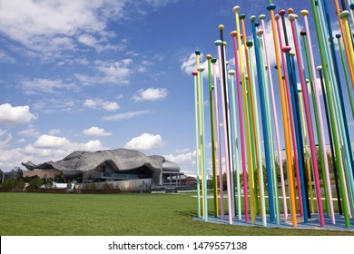 Milan, Italy - August 15 2019: Art installation named Coloris in CityLife park in front of MICO Milano Convention Centre