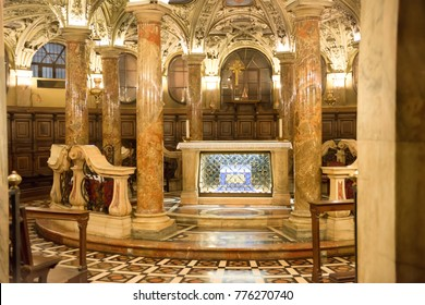 MILAN / ITALY - August 17, 2014: Interior of Milan Duomo Cathedral. Mane nave with altar
