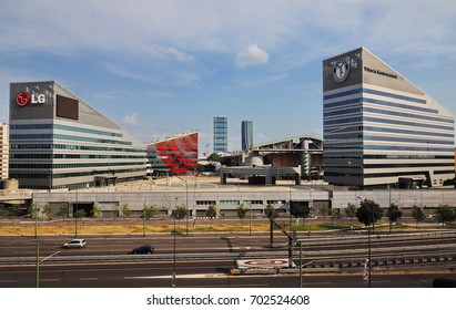 MILAN, ITALY - AUGUST 19, 2017: Milan (Lombardy, Italy): modern square and office buildings in the new Portello area
