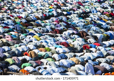 MILAN, ITALY - August 19: Muslims prayer for the end of Ramadan in Milan, August 19, 2012.