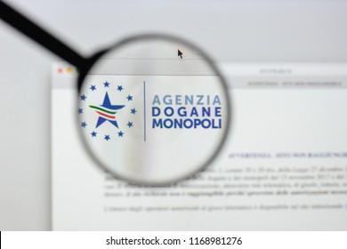 Milan, Italy - August 20, 2018: agenzia dogane e monopoli website homepage. agenzia dogane e monopoli logo visible.