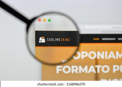 Milan, Italy - August 20, 2018: Sublime Skinz website homepage. Sublime Skinz logo visible.