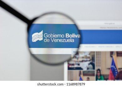 Milan, Italy - August 20, 2018: venezuela goverment website homepage. venezuela goverment logo visible.