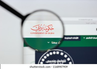 Milan, Italy - August 20, 2018: dubai goverment website homepage. dubai goverment logo visible.
