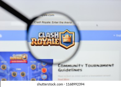 Milan, Italy - August 20, 2018: Clash Royale website homepage. Clash Royale logo visible.