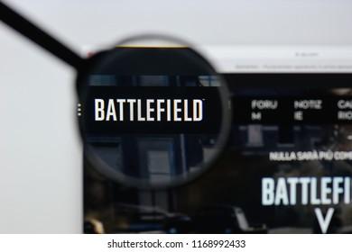 Milan, Italy - August 20, 2018: Battlefield 1 website homepage. Battlefield 1 logo visible.