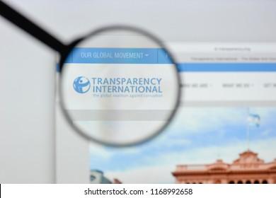 Milan, Italy - August 20, 2018: Transparency International website homepage. Transparency International logo visible.