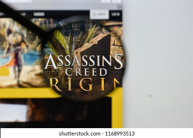 Milan, Italy - August 20, 2018: Assassin's Creed Origins website homepage. Assassin's Creed Origins logo visible.