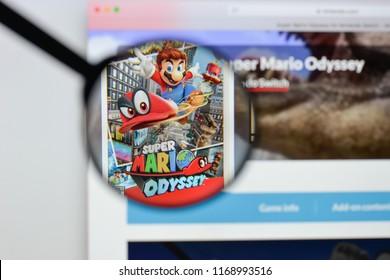 Milan, Italy - August 20, 2018: Super Mario Odyssey website homepage. Super Mario Odyssey logo visible.
