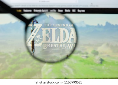 Milan, Italy - August 20, 2018: The Legend Of Zelda: Breath Of The Wild website homepage. The Legend Of Zelda: Breath Of The Wild logo visible.
