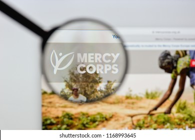 Milan, Italy - August 20, 2018: Mercy Corps website homepage. Mercy Corps logo visible.