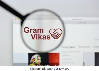 Milan, Italy - August 20, 2018: Gram Vikas website homepage. Gram Vikas logo visible.